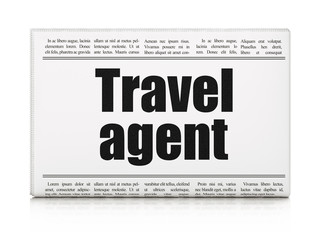 Tourism concept: newspaper headline Travel Agent on White background, 3D rendering