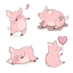 Set of cute cartoon pigs isolated on white. Vector illustration.