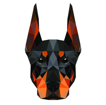 Low poly triangular dog doberman face on dark background, symmetrical vector illustration EPS 10 isolated.  Polygonal style trendy modern logo design. Suitable for printing on a t-shirt.