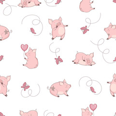 Seamless pattern with cute pigs and butterflies. Vector illustration for kids.