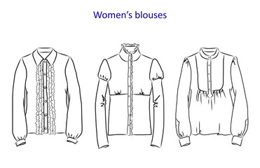 Hand drawn set with women's clothes. Vector illustration for backgrounds, textile prints, web and graphic design
