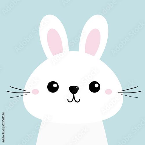 White Bunny Rabbit Funny Head Baby Face Big Ears Cute Kawaii