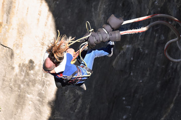 Tandem Bungee jumps as extreme and fun sport