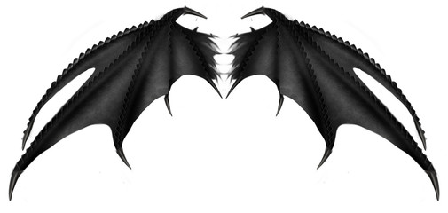 Black demon devil wings 3D