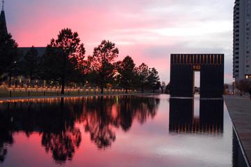 Sunset over Oklahoma City memorial