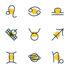 Vector illustration of 9 astrology icons line style. Editable set of sputnik, cancer, sagittarius and other icon elements.