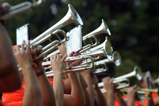 Trumpet players during marching band rehearsal on field, Stillwater, Oklahoma
