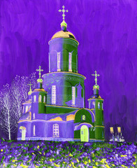 Oil Painting on canvas. Beautiful church, lit by the sun on a frosty winter night. Clear blue sky and sparkling snow. Procession.