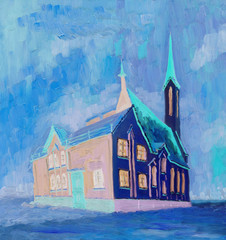 Oil Painting. Beautiful Cathedral on a cloudy winter day. Rough brush strokes. Bright colors.