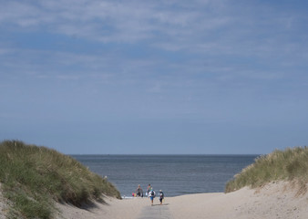 Walking to the beach. Dunes at the coast of the Netherlands. Julianadorp