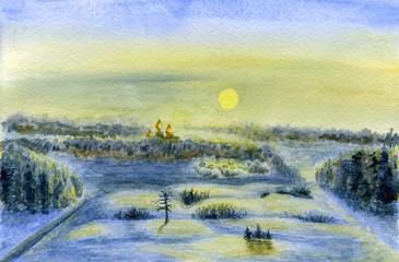 Winter landscape. Dawn, sun and lighted snow. Forest, trees and church in the distance. Watercolor painting on paper.