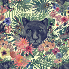 Seamless hand drawn watercolor patten with panther head, leaves, flowers, feathers.