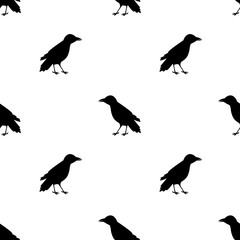 Seamless pattern with black ravens on the white background