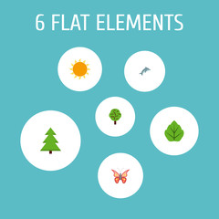 Set of eco icons flat style symbols with leaf, dolphin, spruce and other icons for your web mobile app logo design.