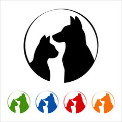 Cat and dog logo on white background