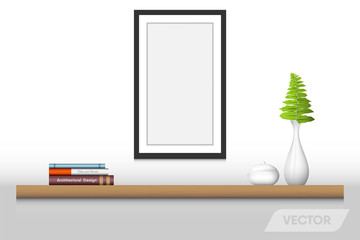 Book shelf and decorative interior, Vector design