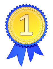 number one 1 award ribbon. 1st first place medal golden blue. champion winner reward, achievement success icon. 3d illustration, isolated