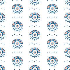 Vector hand drawn greek evil eyes signs seamless repeat pattern