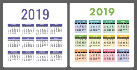 Calendar 2019 year. Colorful English set. Week starts on Sunday. Vector template collection. Basic grid