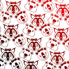 cute bear wolf beaver heads decoration background