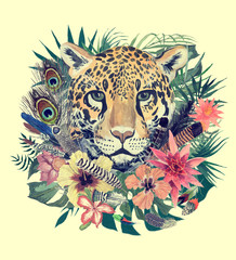 Watercolor hand drawn illustration with leopard head, flowers, leaves, feathers.
