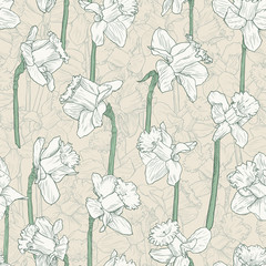 Seamless floral white narcissus pattern. Line illustration for fabric wrapping prints wedding design in vintage style
