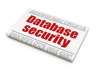 Security concept: newspaper headline Database Security on White background, 3D rendering