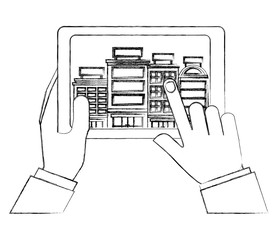 hands holding tablet computer hotels application