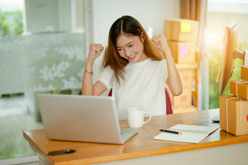 beautiful women owner business woman work at home for online shopping .online business concept