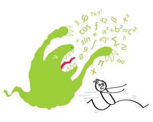 Angst vor Mathe, Mathemonster, Zahlenmonster, Schüler, Strichmännchen rennt davon