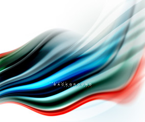 Fluid liquid mixing colors concept on light grey background, wave and swirl curve flow line, trendy abstract layout template for business presentation, app wallpaper banner, poster or wallpaper
