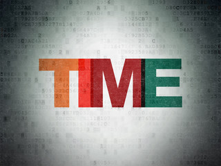 Time concept: Painted multicolor text Time on Digital Data Paper background