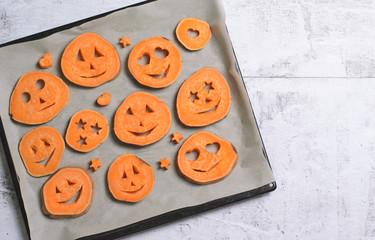 Sweet Potato Carving Funny Faces, Halloween Symbol, Creative Food