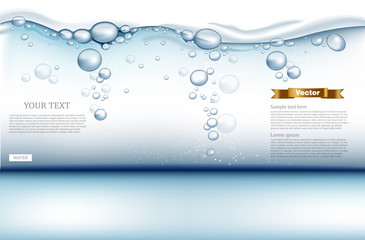 Digital Vector under water background with bubbles, water drops and light waves. Ready for product placement and info-graphic, poster, ads, print or magazines