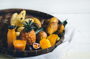 Mixed Fruit pineapple, mango,Passion fruit in threshing basket