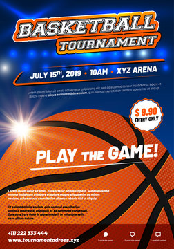 Modern basketball poster template with sample text