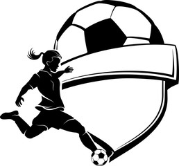 Soccer Girl Silhouette with Shield