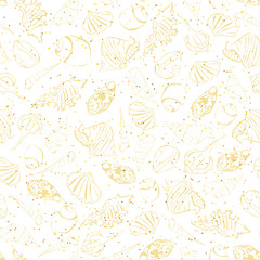 Seashells seamless pattern. Simple drawing seachells