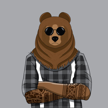 Bear dressed up in plaid shirt with tattoo. Anthropomorphic illustration