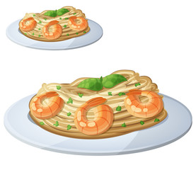 Pasta with shrimps. Cartoon vector icon isolated
