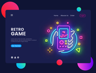 Retro Games website concept banner Vector design template. Retro Game light banner in neon style, Retro geek gaming gamepad in hand neon sign, modern trend design, bright nightlife advertisement
