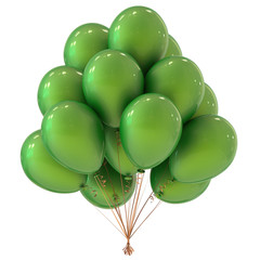 party helium balloons bunch green. celebration event, holiday, birthday decoration classic. 3d illustration