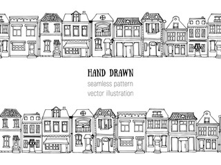 Hand drawn European city houses horizontal seamless pattern. Cute cartoon style vector illustration.. Colorful modern townhouse building sketch. City buildings, Doodle decorative elements collection.