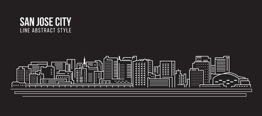 Cityscape Building Line art Vector Illustration design - san jose city