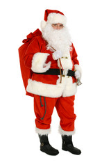 Santa Claus carry sack full of presents on his back