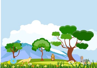 Vector natural wildlife landscape fox and rodents on meadow, concept nature