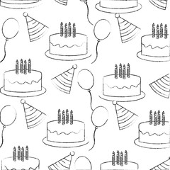 birthday cake candles party hat balloons pattern