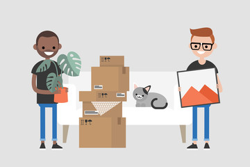 Young interracial homosexual couple moving to a new apartment. Relocation. Mortgage. Flat editable vector illustration, clip art
