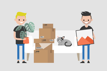 Young homosexual couple moving to a new apartment. Relocation. Mortgage. Flat editable vector illustration, clip art