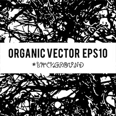 Organic vector background with nature foliage textures and dark grunge items for creation of design banners, music cover, wallpapers ,flyers, web sites with grunge industrial ideas.